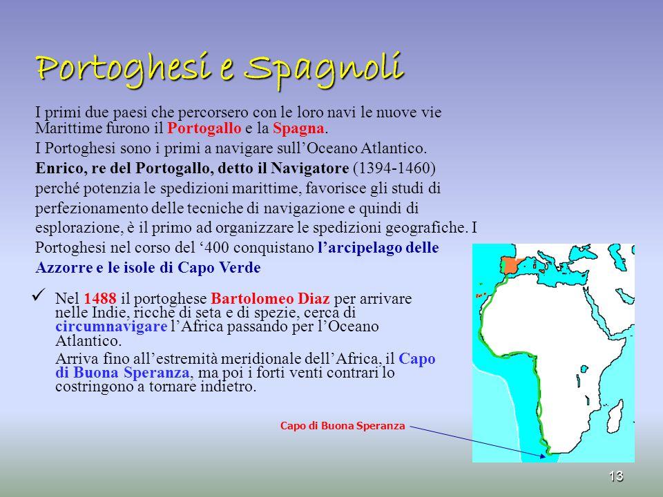 Portoghesi e Spagnoli Capo di Buona Speranza 13 I primi due paesi che percorsero con le loro navi le nuove vie Marittime furono il Portogallo e la Spa