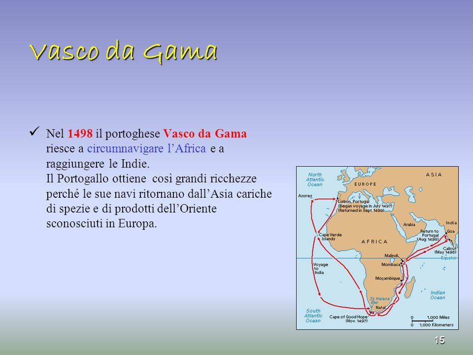 Vasco da Gama Nel 1498 il portoghese Vasco da Gama riesce a circumnavigare l'Africa e a raggiungere le Indie. Il Portogallo ottiene così grandi ricche
