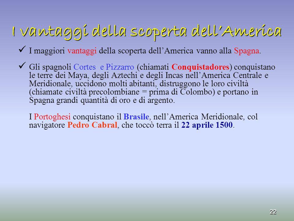 I vantaggi della scoperta dell'America I maggiori vantaggi della scoperta dell'America vanno alla Spagna. Gli spagnoli Cortes e Pizzarro (chiamati Con
