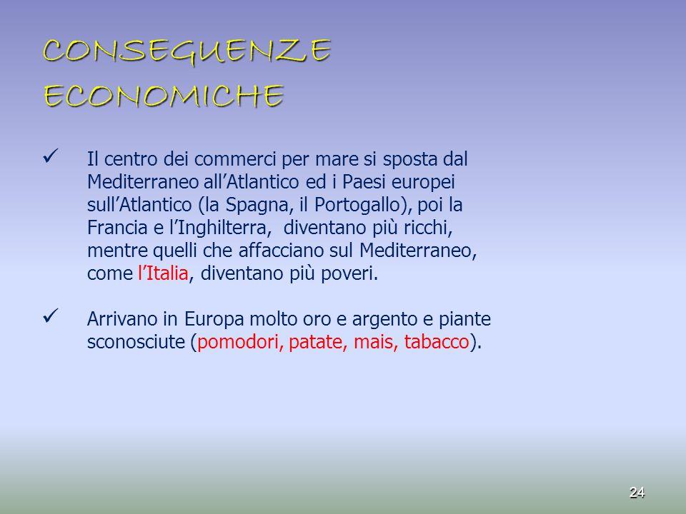 CONSEGUENZE ECONOMICHE Il centro dei commerci per mare si sposta dal Mediterraneo all'Atlantico ed i Paesi europei sull'Atlantico (la Spagna, il Porto