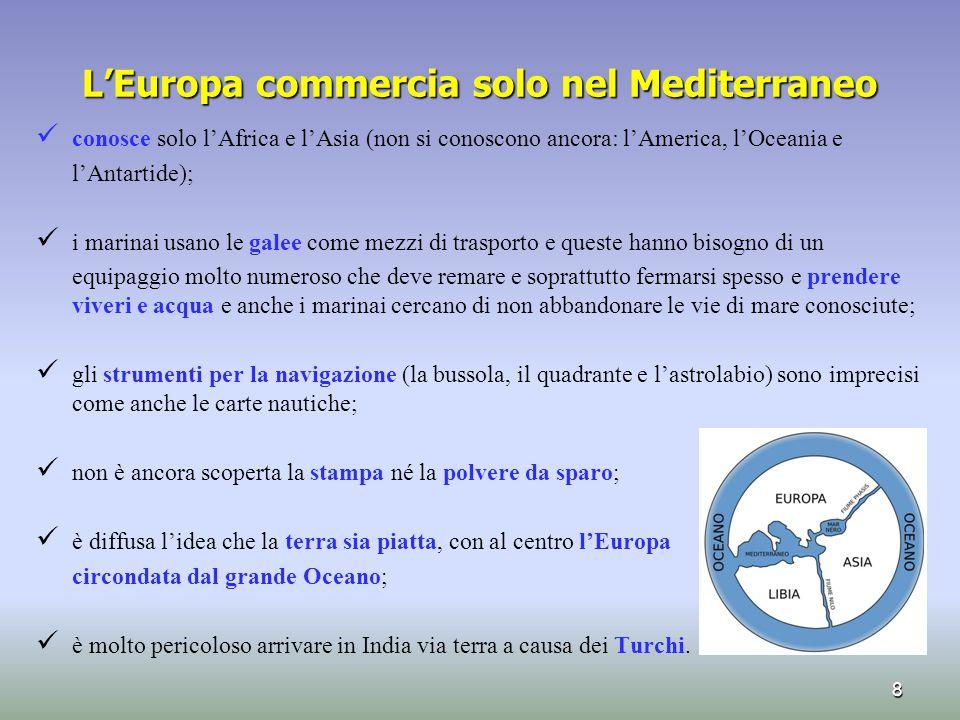 L'Europa commercia solo nel Mediterraneo conosce solo l'Africa e l'Asia (non si conoscono ancora: l'America, l'Oceania e l'Antartide); i marinai usano