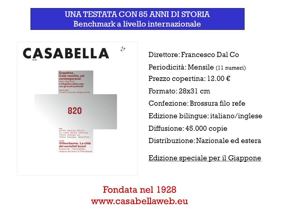 Direttore: Francesco Dal Co Periodicità: Mensile (11 numeri) Prezzo copertina: 12.00 € Formato: 28x31 cm Confezione: Brossura filo refe Edizione bilin