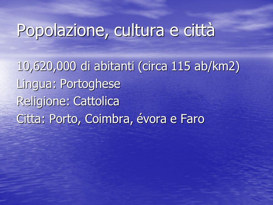Popolazione, cultura e città 10,620,000 di abitanti (circa 115 ab/km2) Lingua: Portoghese Religione: Cattolica Citta: Porto, Coimbra, évora e Faro