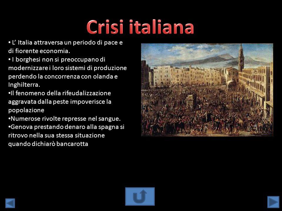 L' Italia attraversa un periodo di pace e di fiorente economia. I borghesi non si preoccupano di modernizzare i loro sistemi di produzione perdendo la