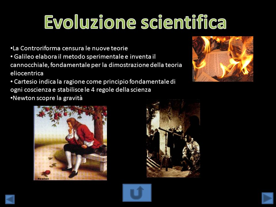 La Controriforma censura le nuove teorie Galileo elabora il metodo sperimentale e inventa il cannocchiale, fondamentale per la dimostrazione della teo