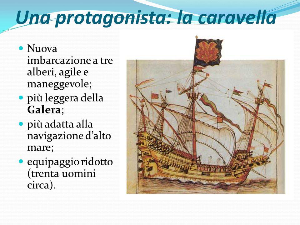 Una protagonista: la caravella Nuova imbarcazione a tre alberi, agile e maneggevole; più leggera della Galera; più adatta alla navigazione d'alto mare; equipaggio ridotto (trenta uomini circa).