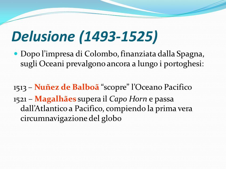 Delusione (1493-1525) Dopo l'impresa di Colombo, finanziata dalla Spagna, sugli Oceani prevalgono ancora a lungo i portoghesi: 1513 – Nuñez de Balboã scopre l'Oceano Pacifico 1521 – Magalhães supera il Capo Horn e passa dall'Atlantico a Pacifico, compiendo la prima vera circumnavigazione del globo