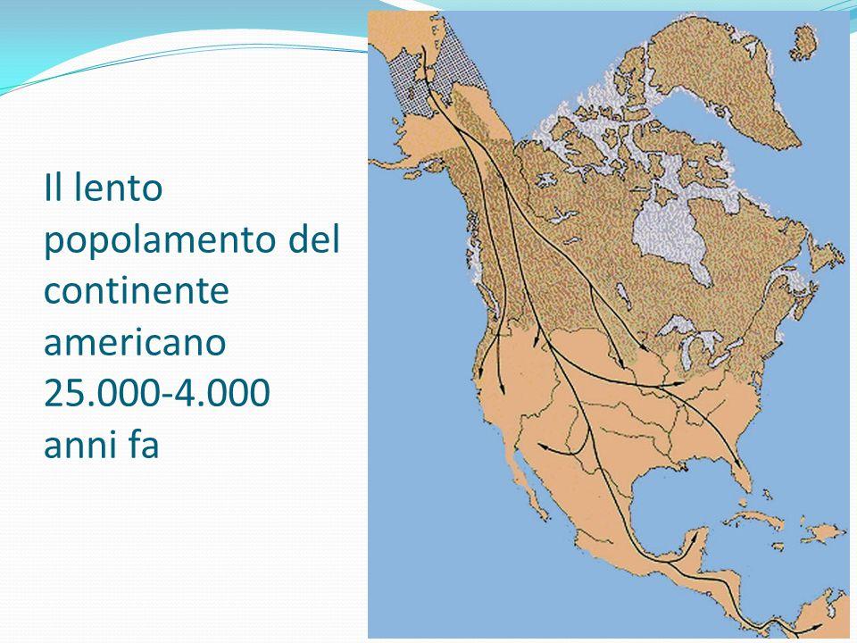 Il lento popolamento del sud America La presenza umana in sud America risale a 13-11.000 anni fa (Venezuela, Amazzonia) per giungere alla Terra del Fuoco attorno agli 8.000 anni fa.