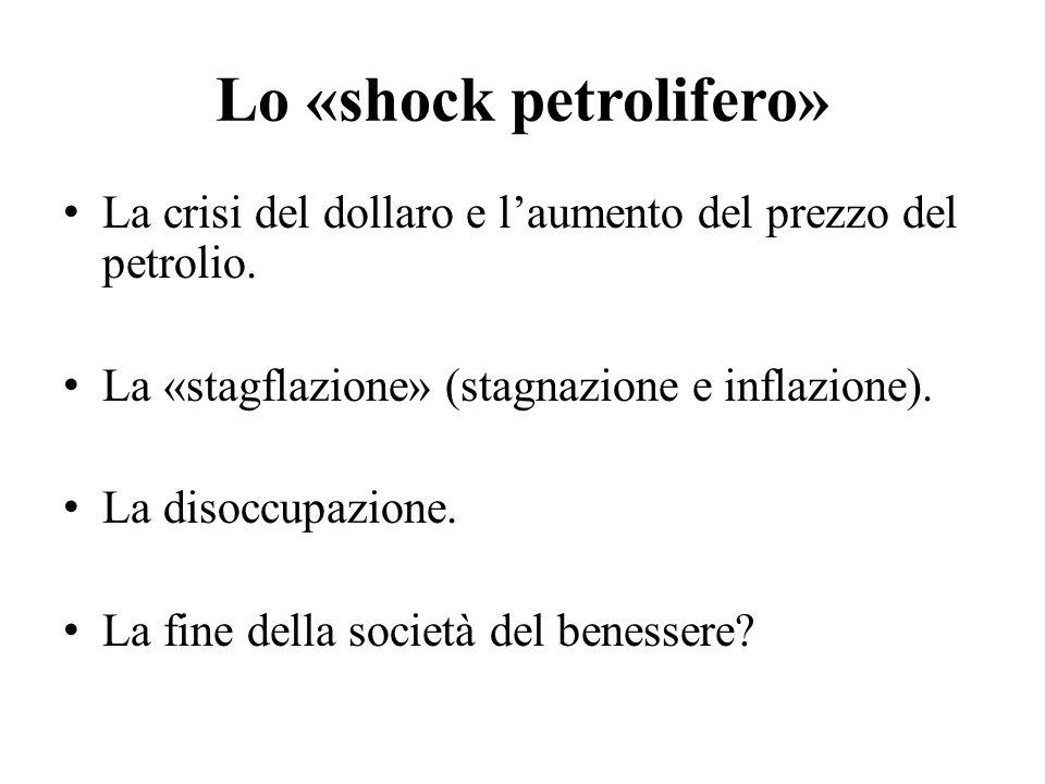 Lo «shock petrolifero» La crisi del dollaro e l'aumento del prezzo del petrolio. La «stagflazione» (stagnazione e inflazione). La disoccupazione. La f
