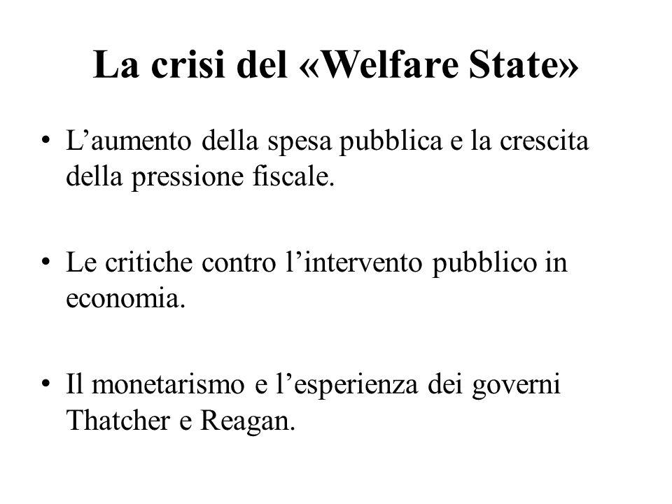 La crisi del «Welfare State» L'aumento della spesa pubblica e la crescita della pressione fiscale. Le critiche contro l'intervento pubblico in economi