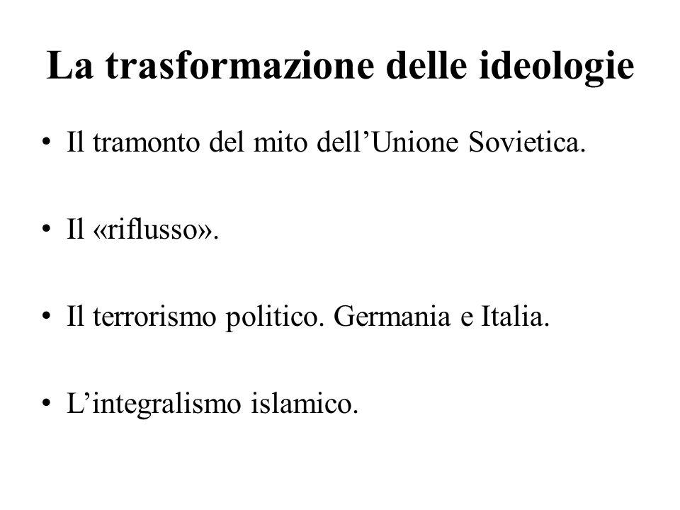 La trasformazione delle ideologie Il tramonto del mito dell'Unione Sovietica. Il «riflusso». Il terrorismo politico. Germania e Italia. L'integralismo
