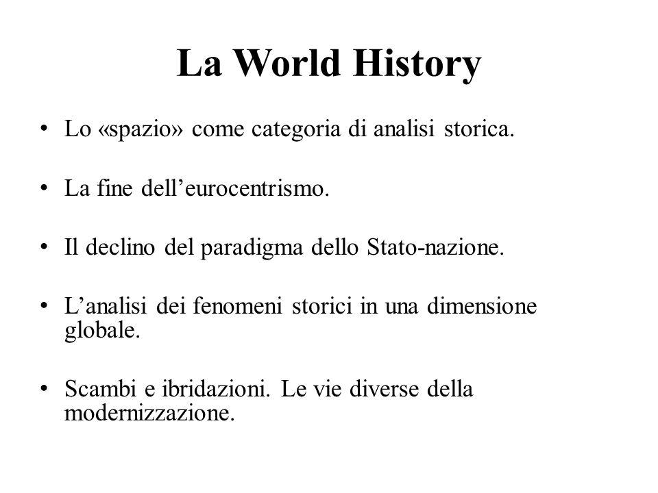 La World History Lo «spazio» come categoria di analisi storica. La fine dell'eurocentrismo. Il declino del paradigma dello Stato-nazione. L'analisi de