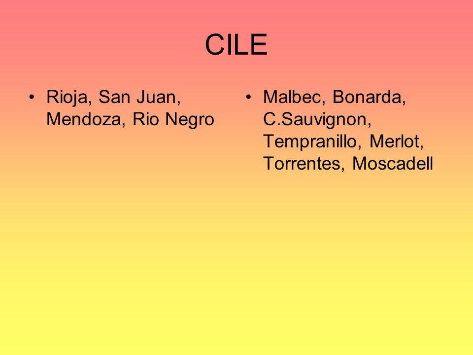 CILE Rioja, San Juan, Mendoza, Rio Negro Malbec, Bonarda, C.Sauvignon, Tempranillo, Merlot, Torrentes, Moscadell