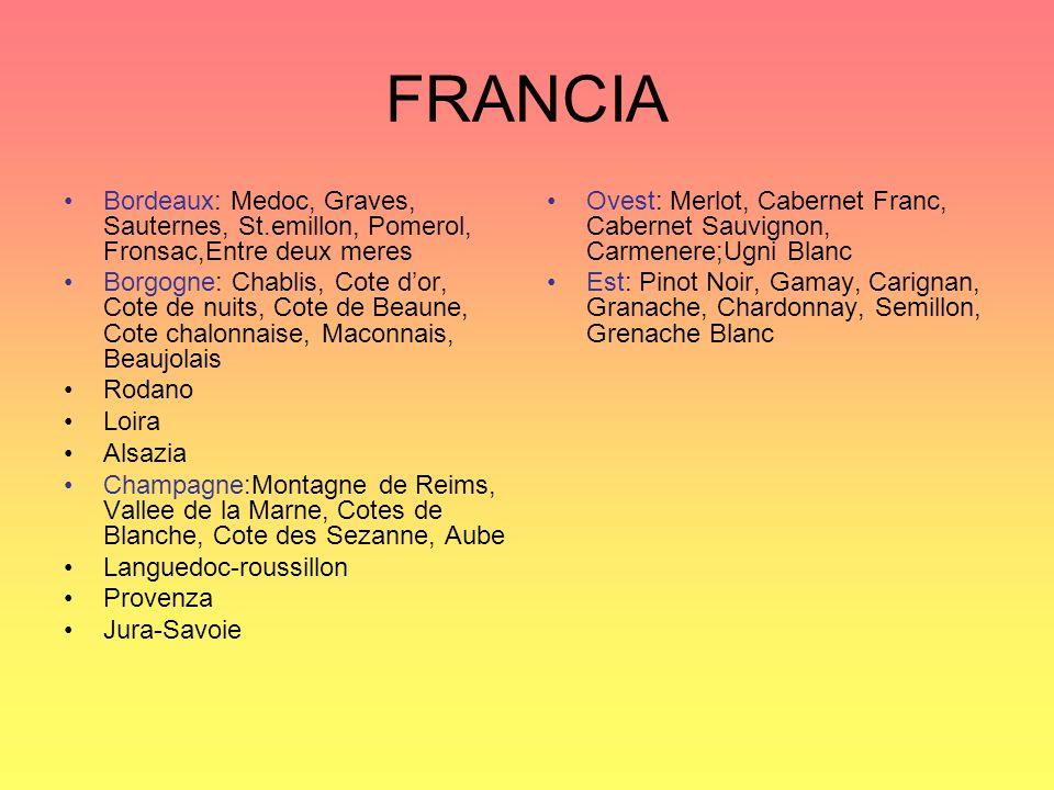 FRANCIA Bordeaux: Medoc, Graves, Sauternes, St.emillon, Pomerol, Fronsac,Entre deux meres Borgogne: Chablis, Cote d'or, Cote de nuits, Cote de Beaune,