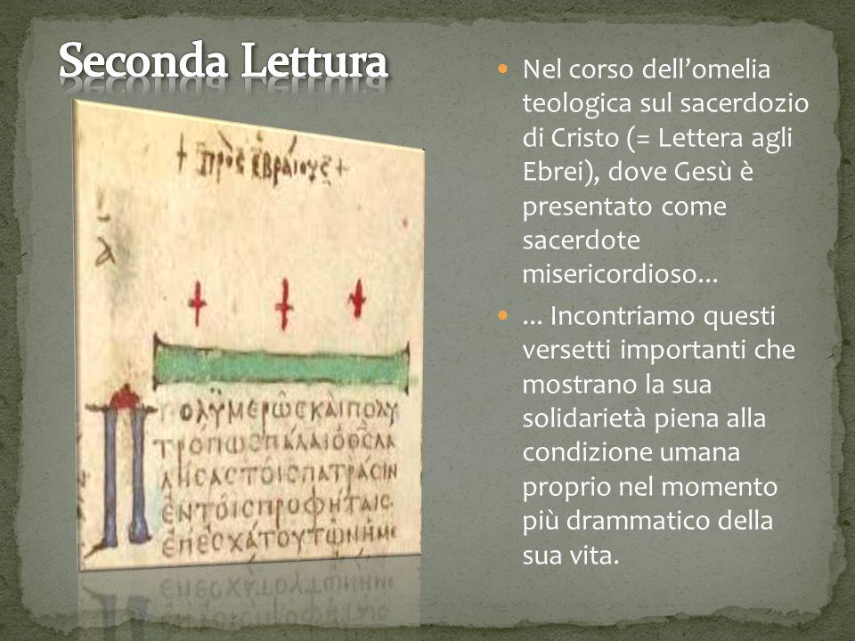 Nel corso dell'omelia teologica sul sacerdozio di Cristo (= Lettera agli Ebrei), dove Gesù è presentato come sacerdote misericordioso......