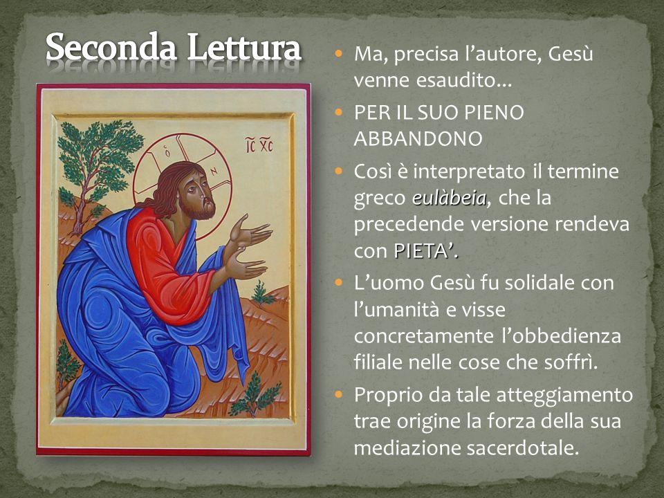 Ma, precisa l'autore, Gesù venne esaudito...PER IL SUO PIENO ABBANDONO eulàbeia PIETA'.