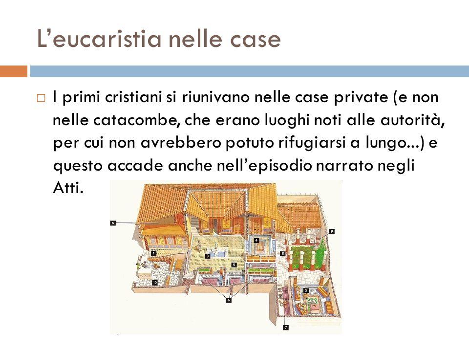 L'eucaristia nelle case  I primi cristiani si riunivano nelle case private (e non nelle catacombe, che erano luoghi noti alle autorità, per cui non a