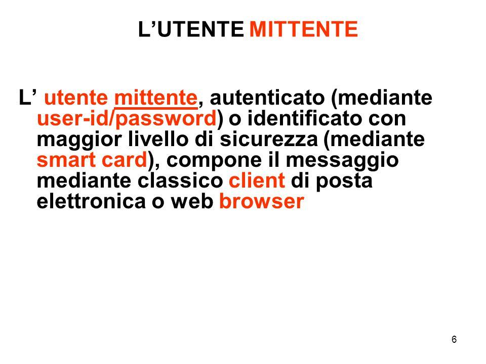 6 L' utente mittente, autenticato (mediante user-id/password) o identificato con maggior livello di sicurezza (mediante smart card), compone il messaggio mediante classico client di posta elettronica o web browser L'UTENTE MITTENTE