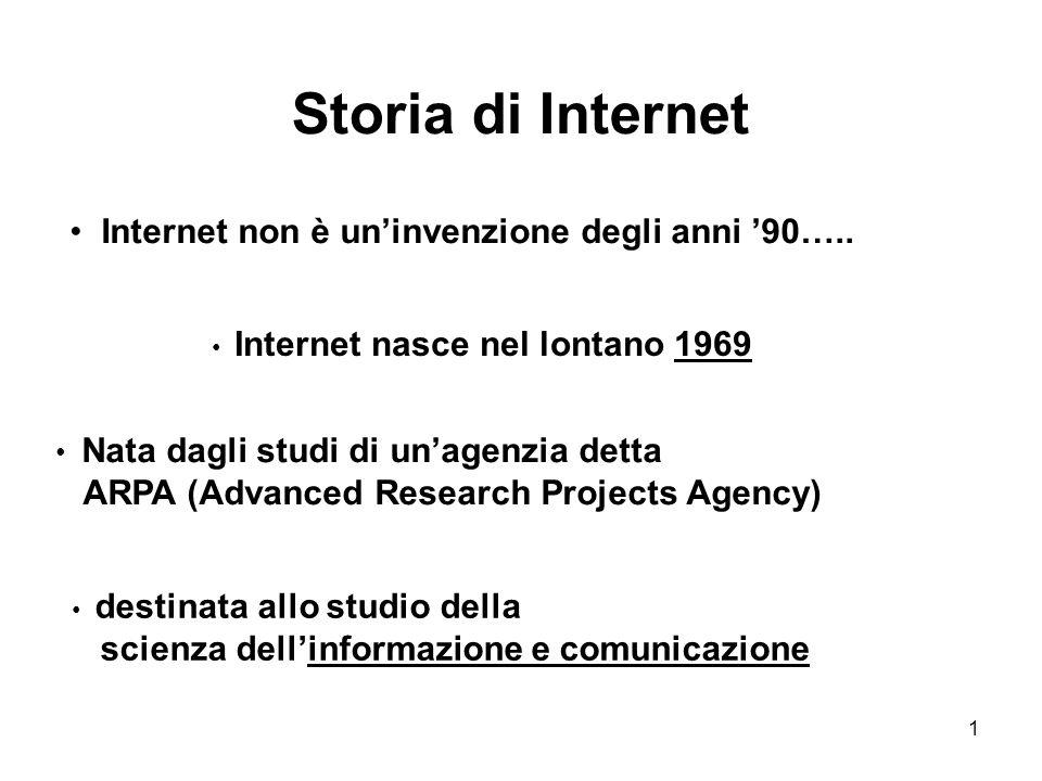 1 Storia di Internet Internet non è un'invenzione degli anni '90….. Nata dagli studi di un'agenzia detta ARPA (Advanced Research Projects Agency) Inte