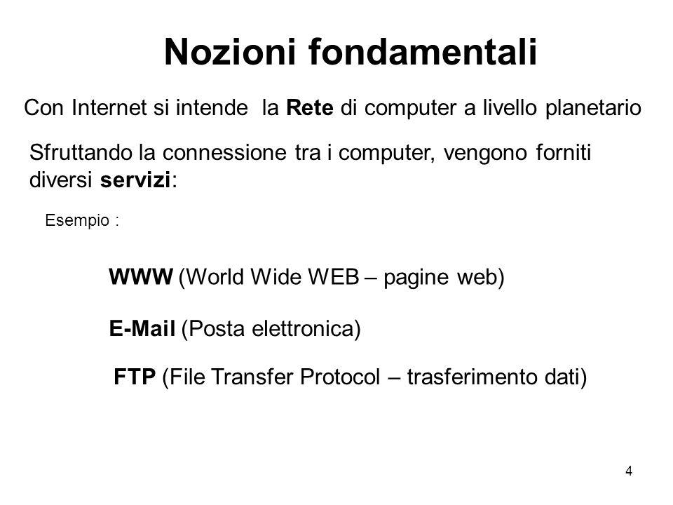 4 Nozioni fondamentali Con Internet si intende la Rete di computer a livello planetario Esempio : WWW (World Wide WEB – pagine web) E-Mail (Posta elettronica) FTP (File Transfer Protocol – trasferimento dati) Sfruttando la connessione tra i computer, vengono forniti diversi servizi: