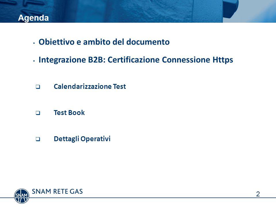 Agenda  Obiettivo e ambito del documento  Integrazione B2B: Certificazione Connessione Https  Calendarizzazione Test  Test Book  Dettagli Operativi 2