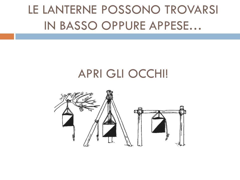 LE LANTERNE POSSONO TROVARSI IN BASSO OPPURE APPESE… APRI GLI OCCHI!