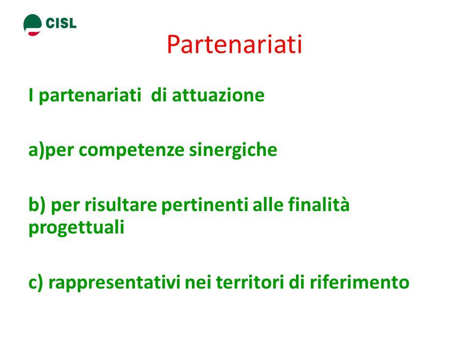 Partenariati I partenariati di attuazione a)per competenze sinergiche b) per risultare pertinenti alle finalità progettuali c) rappresentativi nei territori di riferimento