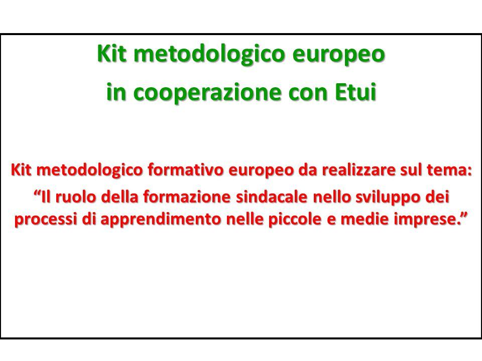 Kit metodologico europeo in cooperazione con Etui Kit metodologico formativo europeo da realizzare sul tema: Il ruolo della formazione sindacale nello sviluppo dei processi di apprendimento nelle piccole e medie imprese.