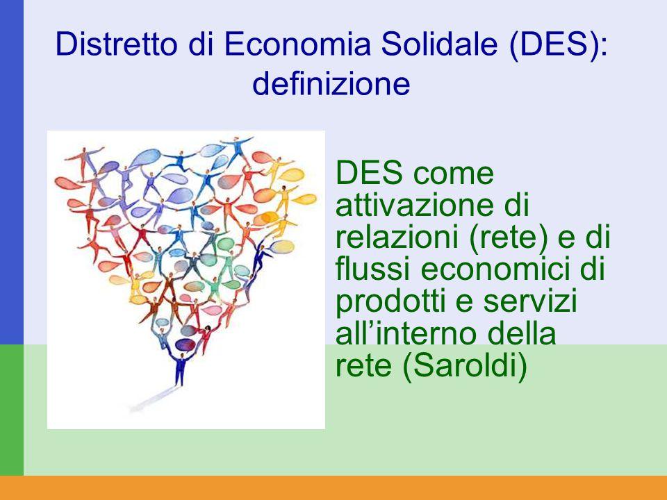 Distretto di Economia Solidale (DES): definizione DES come attivazione di relazioni (rete) e di flussi economici di prodotti e servizi all'interno della rete (Saroldi)