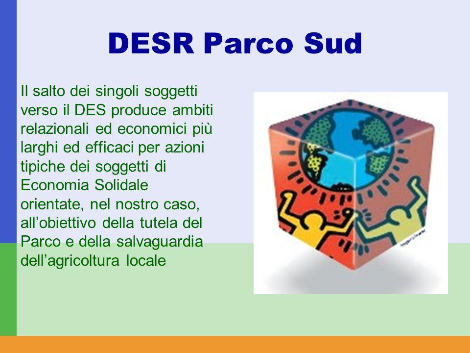 DESR Parco Sud Il salto dei singoli soggetti verso il DES produce ambiti relazionali ed economici più larghi ed efficaci per azioni tipiche dei soggetti di Economia Solidale orientate, nel nostro caso, all'obiettivo della tutela del Parco e della salvaguardia dell'agricoltura locale