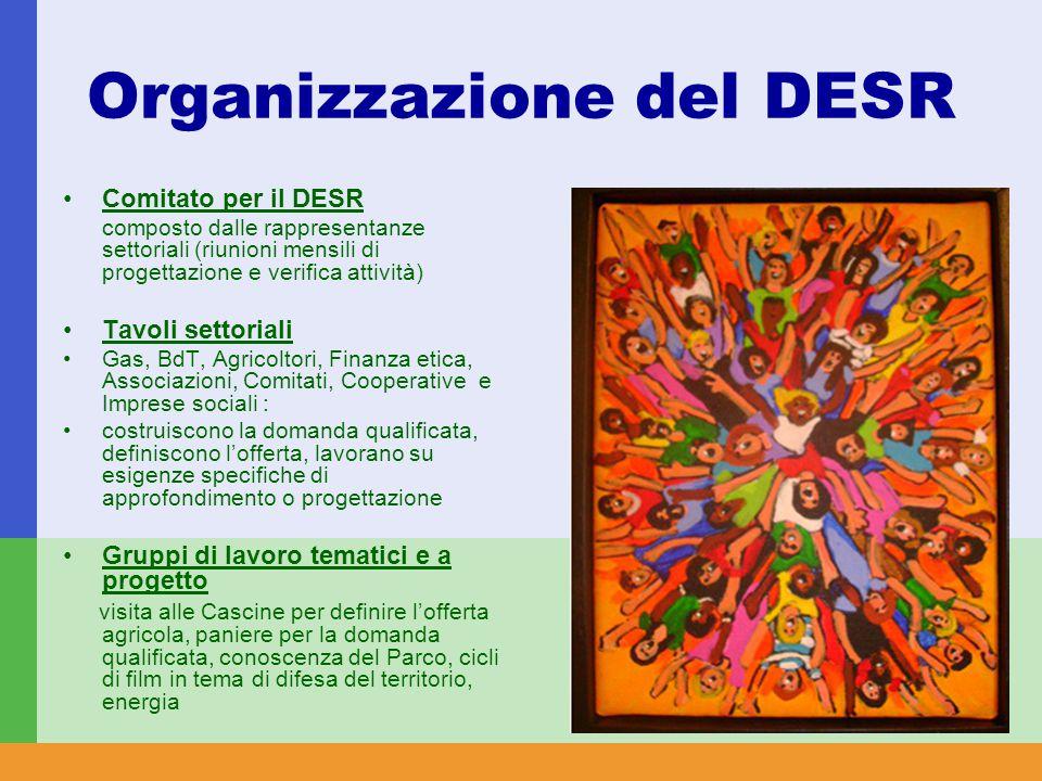 Organizzazione del DESR Comitato per il DESR composto dalle rappresentanze settoriali (riunioni mensili di progettazione e verifica attività) Tavoli settoriali Gas, BdT, Agricoltori, Finanza etica, Associazioni, Comitati, Cooperative e Imprese sociali : costruiscono la domanda qualificata, definiscono l'offerta, lavorano su esigenze specifiche di approfondimento o progettazione Gruppi di lavoro tematici e a progetto visita alle Cascine per definire l'offerta agricola, paniere per la domanda qualificata, conoscenza del Parco, cicli di film in tema di difesa del territorio, energia