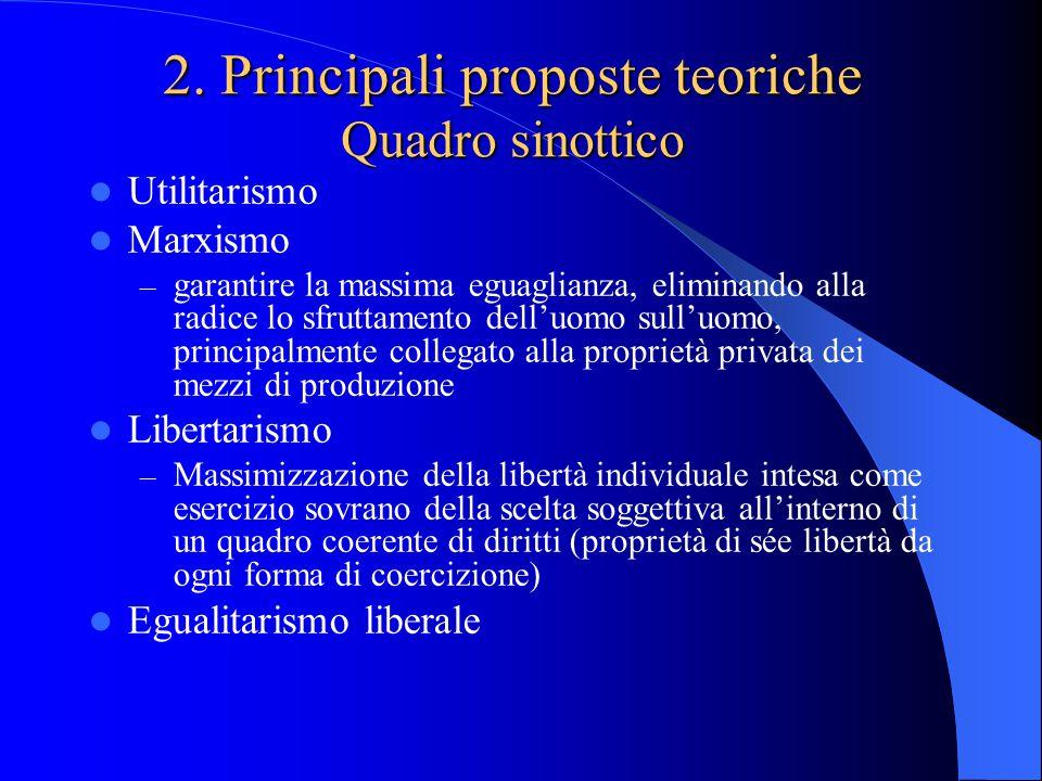 2. Principali proposte teoriche Quadro sinottico Utilitarismo Marxismo – garantire la massima eguaglianza, eliminando alla radice lo sfruttamento dell