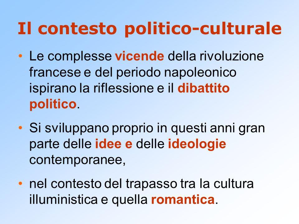 Il contesto politico-culturale Le complesse vicende della rivoluzione francese e del periodo napoleonico ispirano la riflessione e il dibattito politico.