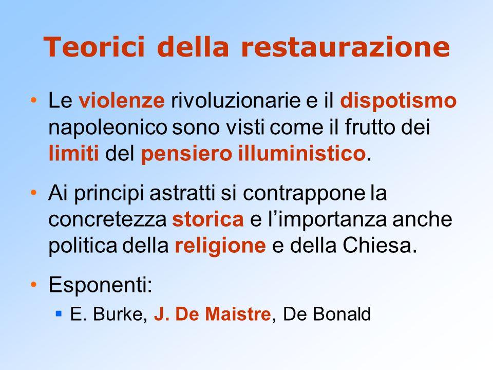 Teorici della restaurazione Le violenze rivoluzionarie e il dispotismo napoleonico sono visti come il frutto dei limiti del pensiero illuministico.