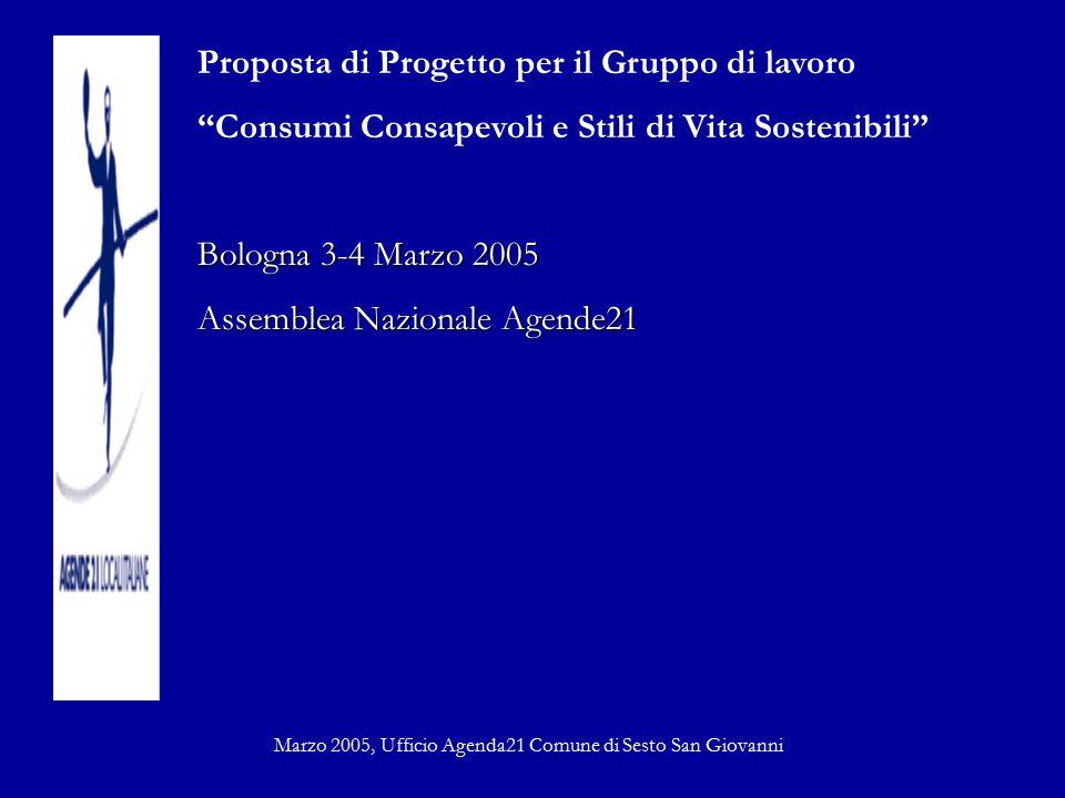 """Proposta di Progetto per il Gruppo di lavoro """"Consumi Consapevoli e Stili di Vita Sostenibili"""" Bologna 3-4 Marzo 2005 Assemblea Nazionale Agende21 Mar"""