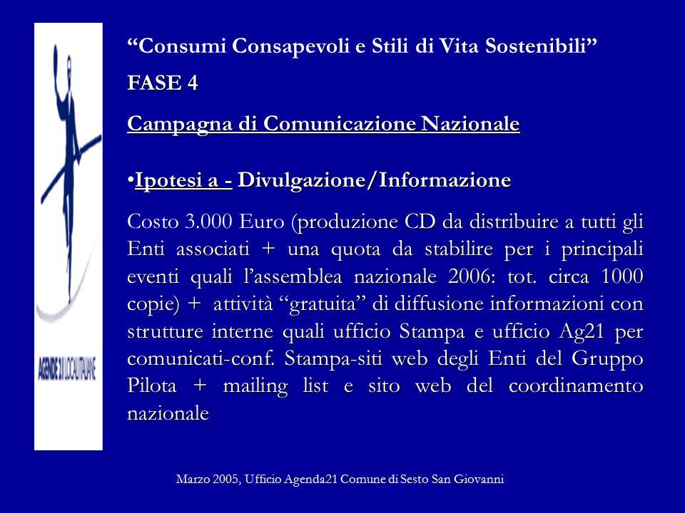 """""""Consumi Consapevoli e Stili di Vita Sostenibili"""" FASE 4 Campagna di Comunicazione Nazionale Ipotesi a - Divulgazione/InformazioneIpotesi a - Divulgaz"""