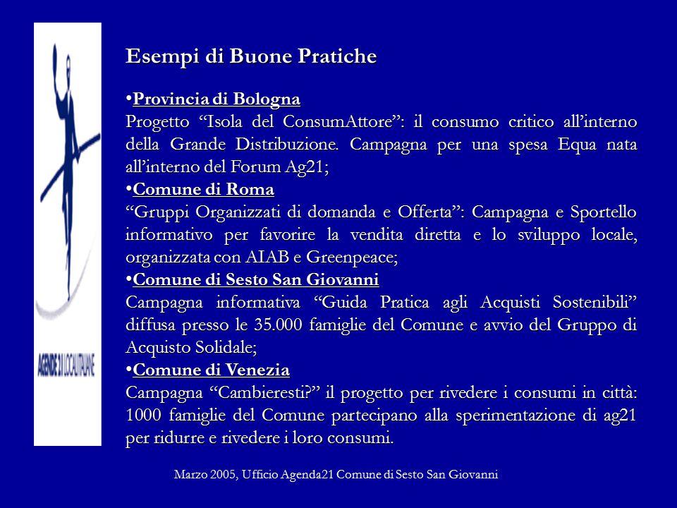 Esempi di Buone Pratiche Provincia di BolognaProvincia di Bologna Progetto Isola del ConsumAttore : il consumo critico all'interno della Grande Distribuzione.