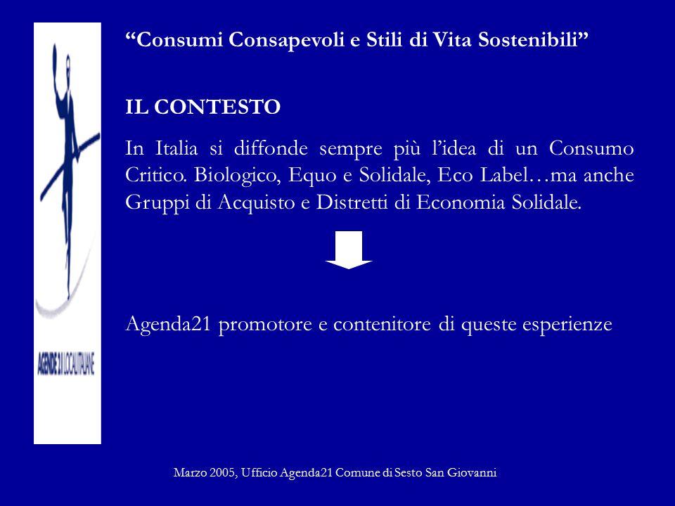 """""""Consumi Consapevoli e Stili di Vita Sostenibili"""" IL CONTESTO In Italia si diffonde sempre più l'idea di un Consumo Critico. Biologico, Equo e Solidal"""