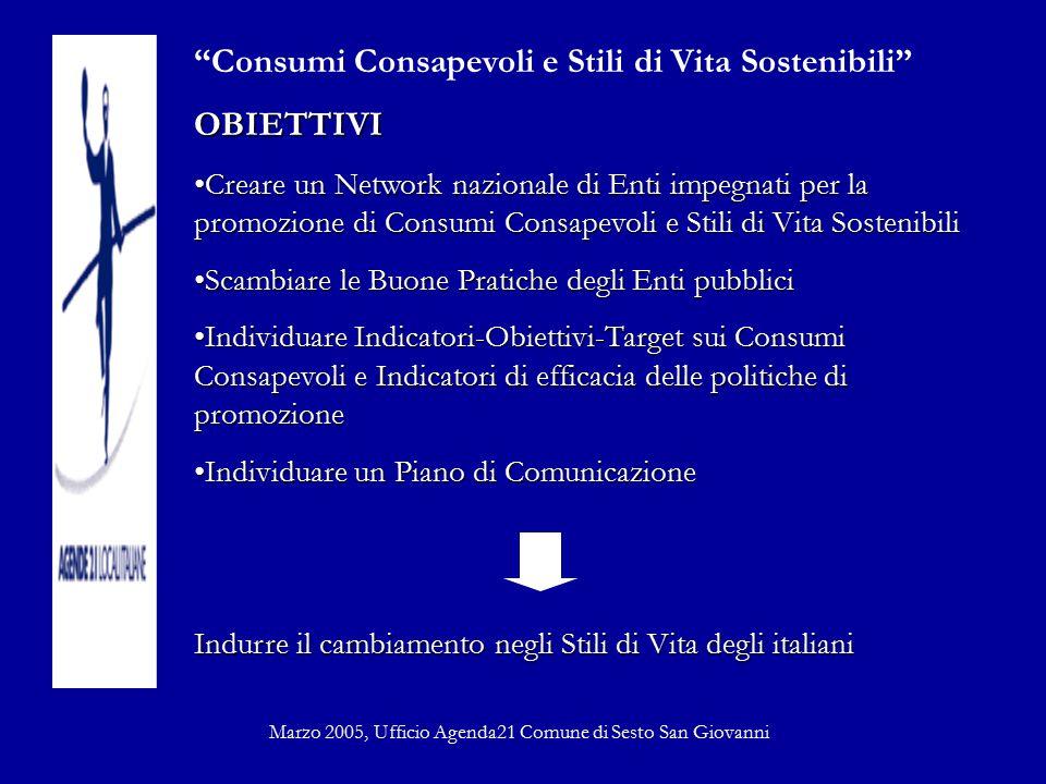"""""""Consumi Consapevoli e Stili di Vita Sostenibili""""OBIETTIVI Creare un Network nazionale di Enti impegnati per la promozione di Consumi Consapevoli e St"""
