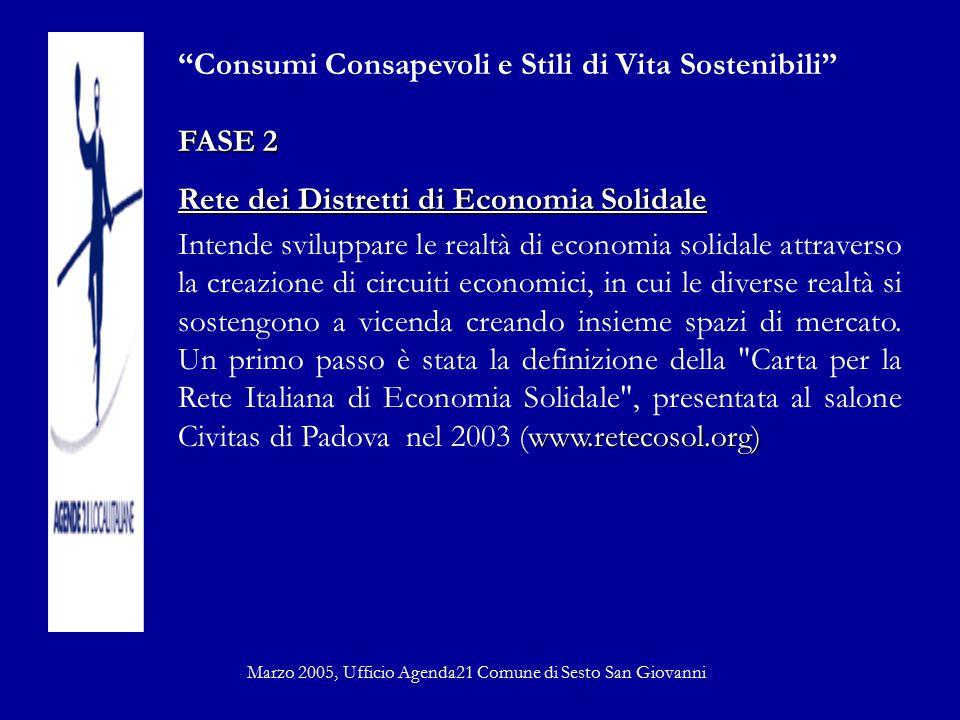 """""""Consumi Consapevoli e Stili di Vita Sostenibili"""" FASE 2 Rete dei Distretti di Economia Solidale www.retecosol.org) Intende sviluppare le realtà di ec"""