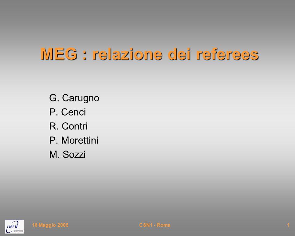 16 Maggio 2005CSN1 - Roma1 MEG : relazione dei referees G. Carugno P. Cenci R. Contri P. Morettini M. Sozzi