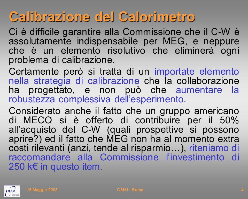 16 Maggio 2005CSN1 - Roma4 Calibrazione del Calorimetro Ci è difficile garantire alla Commissione che il C-W è assolutamente indispensabile per MEG, e neppure che è un elemento risolutivo che eliminerà ogni problema di calibrazione.