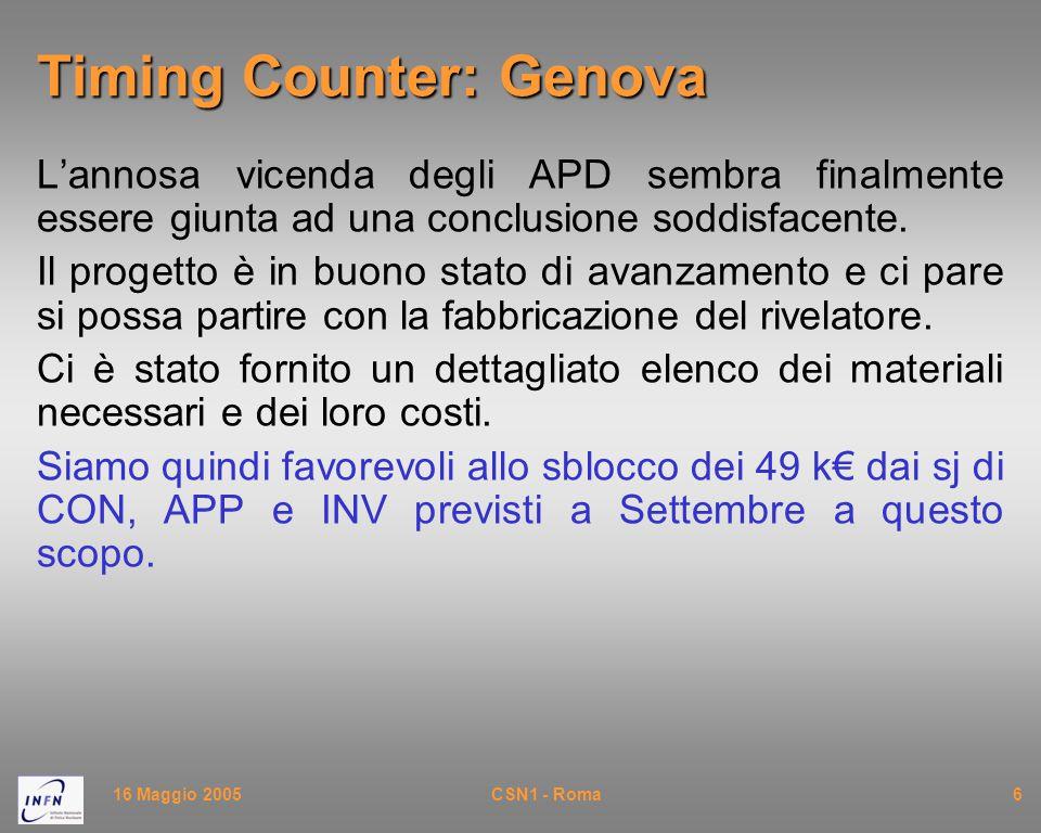 16 Maggio 2005CSN1 - Roma6 Timing Counter: Genova L'annosa vicenda degli APD sembra finalmente essere giunta ad una conclusione soddisfacente. Il prog