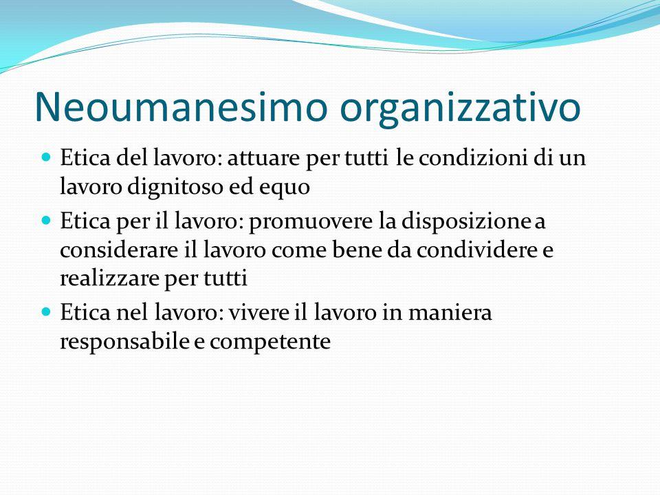 Neoumanesimo organizzativo Etica del lavoro: attuare per tutti le condizioni di un lavoro dignitoso ed equo Etica per il lavoro: promuovere la disposi