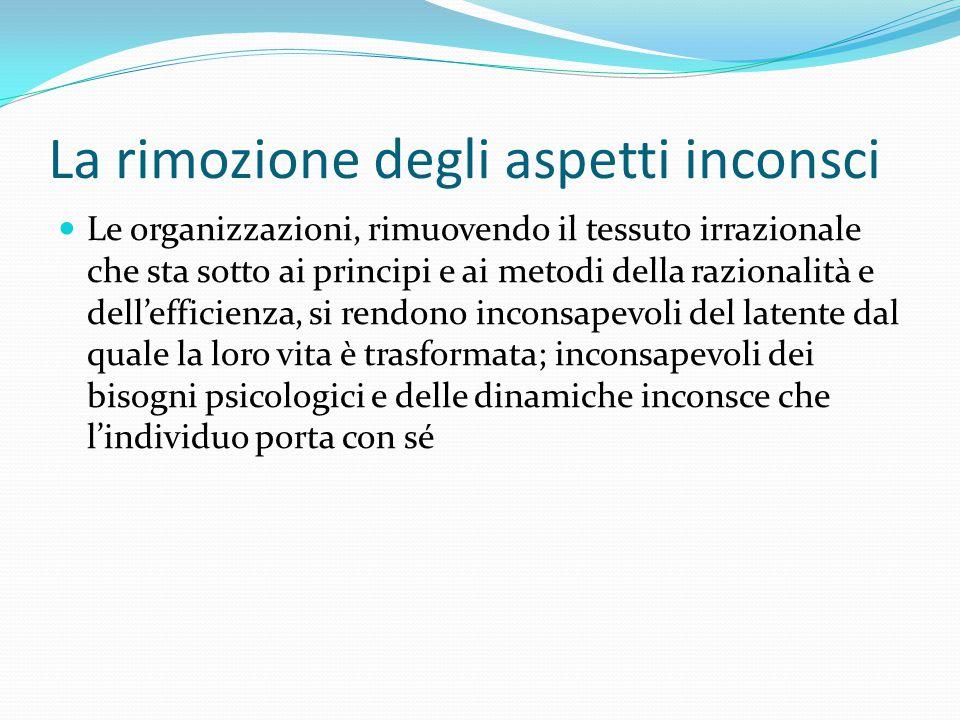 La rimozione degli aspetti inconsci Le organizzazioni, rimuovendo il tessuto irrazionale che sta sotto ai principi e ai metodi della razionalità e del