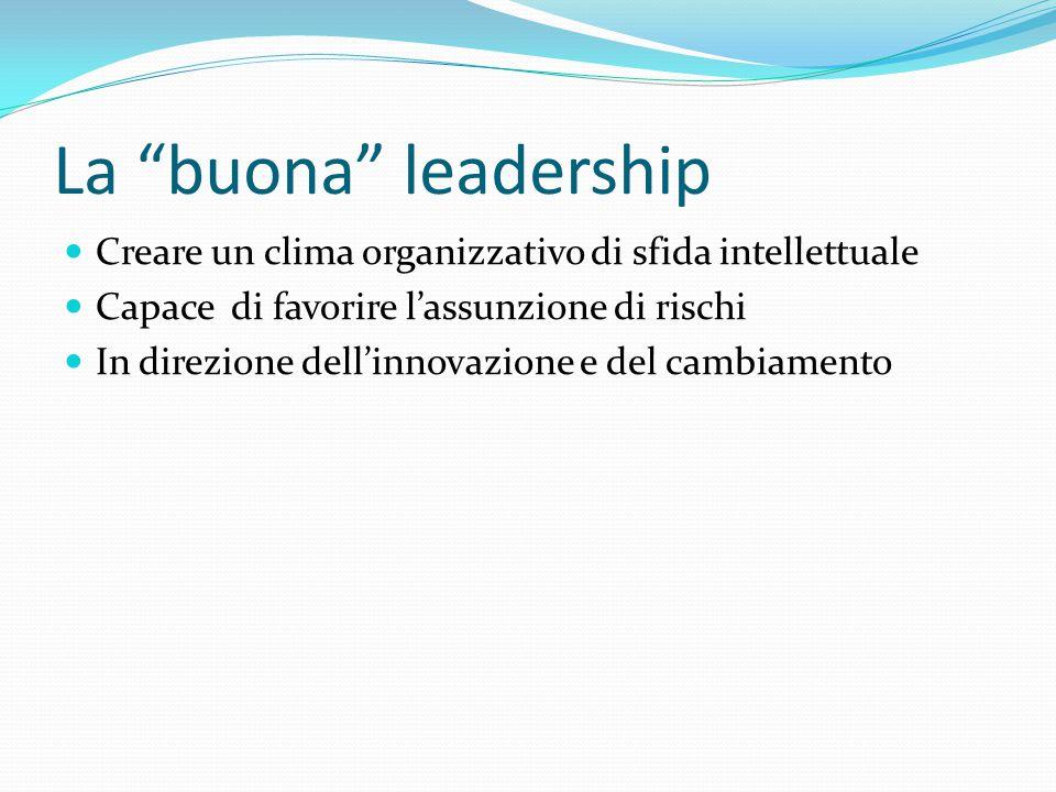 """La """"buona"""" leadership Creare un clima organizzativo di sfida intellettuale Capace di favorire l'assunzione di rischi In direzione dell'innovazione e d"""
