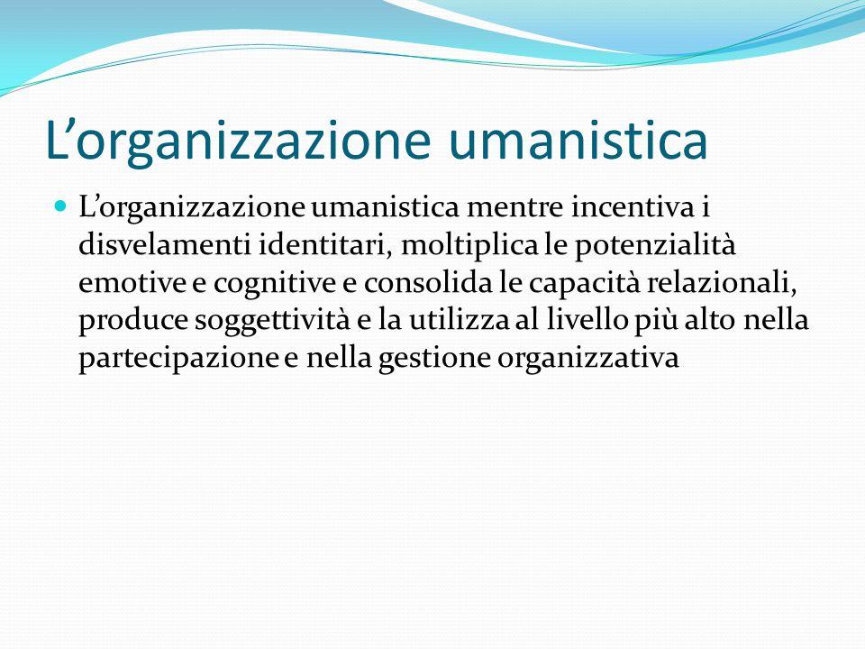 L'organizzazione umanistica L'organizzazione umanistica mentre incentiva i disvelamenti identitari, moltiplica le potenzialità emotive e cognitive e consolida le capacità relazionali, produce soggettività e la utilizza al livello più alto nella partecipazione e nella gestione organizzativa