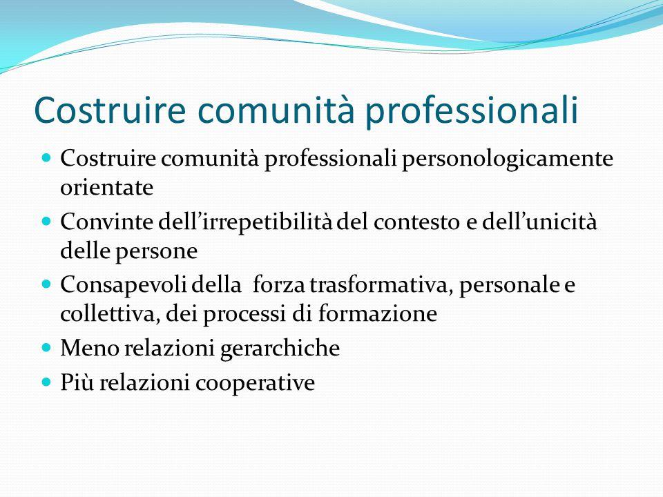 Costruire comunità professionali Costruire comunità professionali personologicamente orientate Convinte dell'irrepetibilità del contesto e dell'unicità delle persone Consapevoli della forza trasformativa, personale e collettiva, dei processi di formazione Meno relazioni gerarchiche Più relazioni cooperative