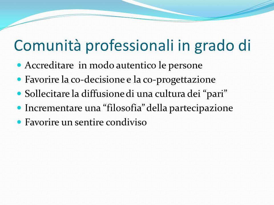 Comunità professionali in grado di Accreditare in modo autentico le persone Favorire la co-decisione e la co-progettazione Sollecitare la diffusione d