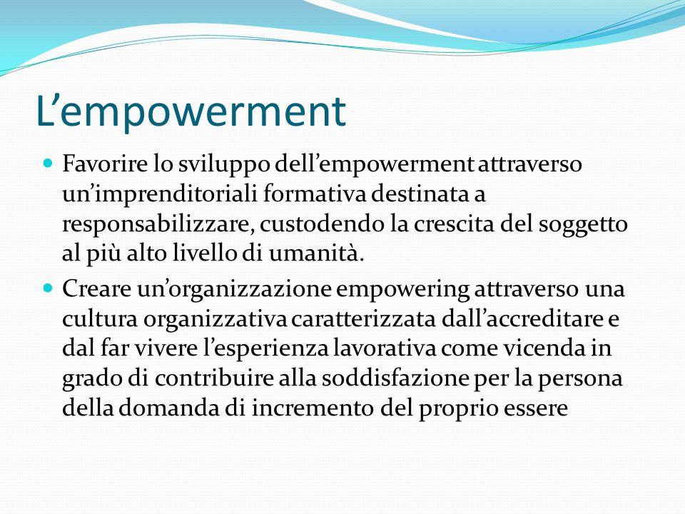 L'empowerment Favorire lo sviluppo dell'empowerment attraverso un'imprenditoriali formativa destinata a responsabilizzare, custodendo la crescita del soggetto al più alto livello di umanità.